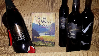 The Corpse with the Golden Nose with wine bottles
