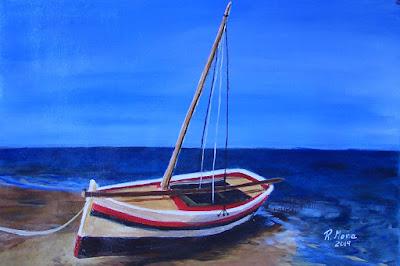 barca a la platja, acrilic