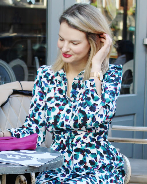 Tabitha Webb shirt dress, printed dress, london blogger, wardrobe staple, pink clutch, aubaine london