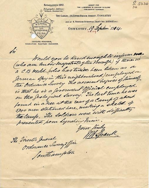 Letter about C B Wedd being a German spy