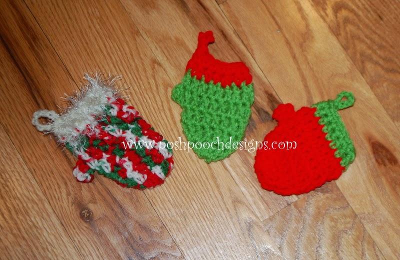 Free Crochet Patterns For Mini Christmas Ornaments : Posh Pooch Designs Dog Clothes: Mini Mitten Christmas ...
