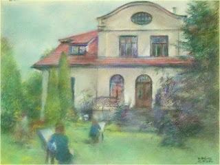obraz autorstwa Marka Strójwąsa przedstawiający grupę plenerowiczów OK Brwinów malujących willę Wernerów