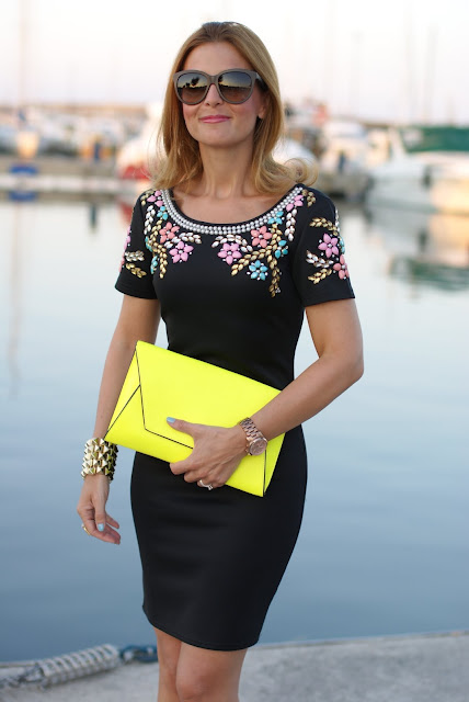 statement golden bracelet, beaded floral dress, Fashion and Cookies, neon clutch