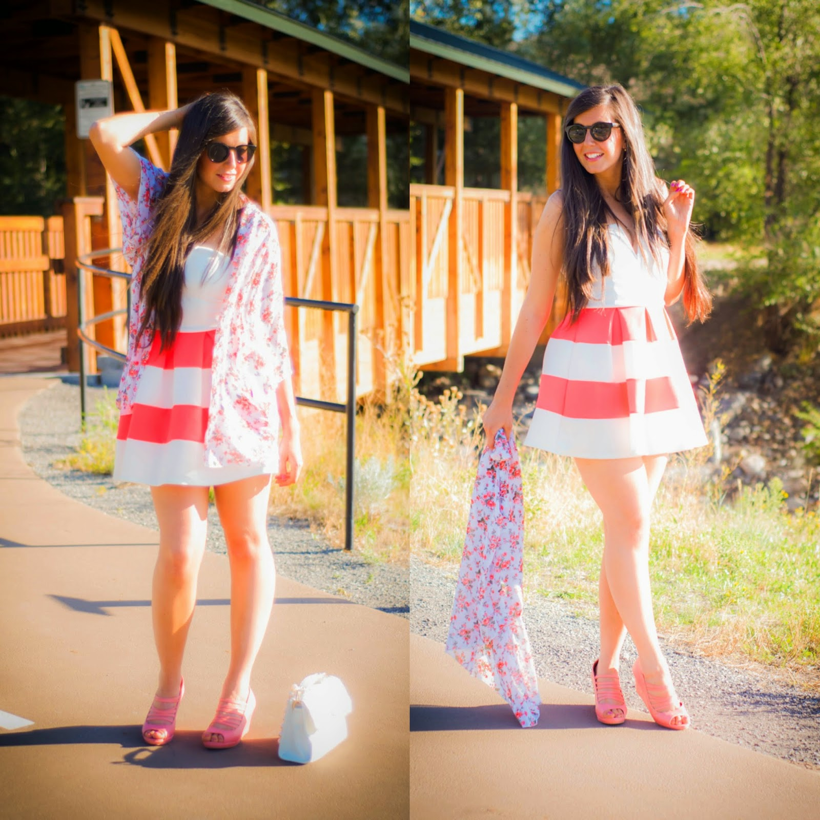 charlotte russe, kimono, skater dress, baby doll dress, strapless dress, amiclubwear shoes, strap wedges, wedges, 2 ways to wear a skater dress, pink and white dress, cute,