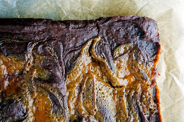 Chocolate Caramel Avocado Brownies