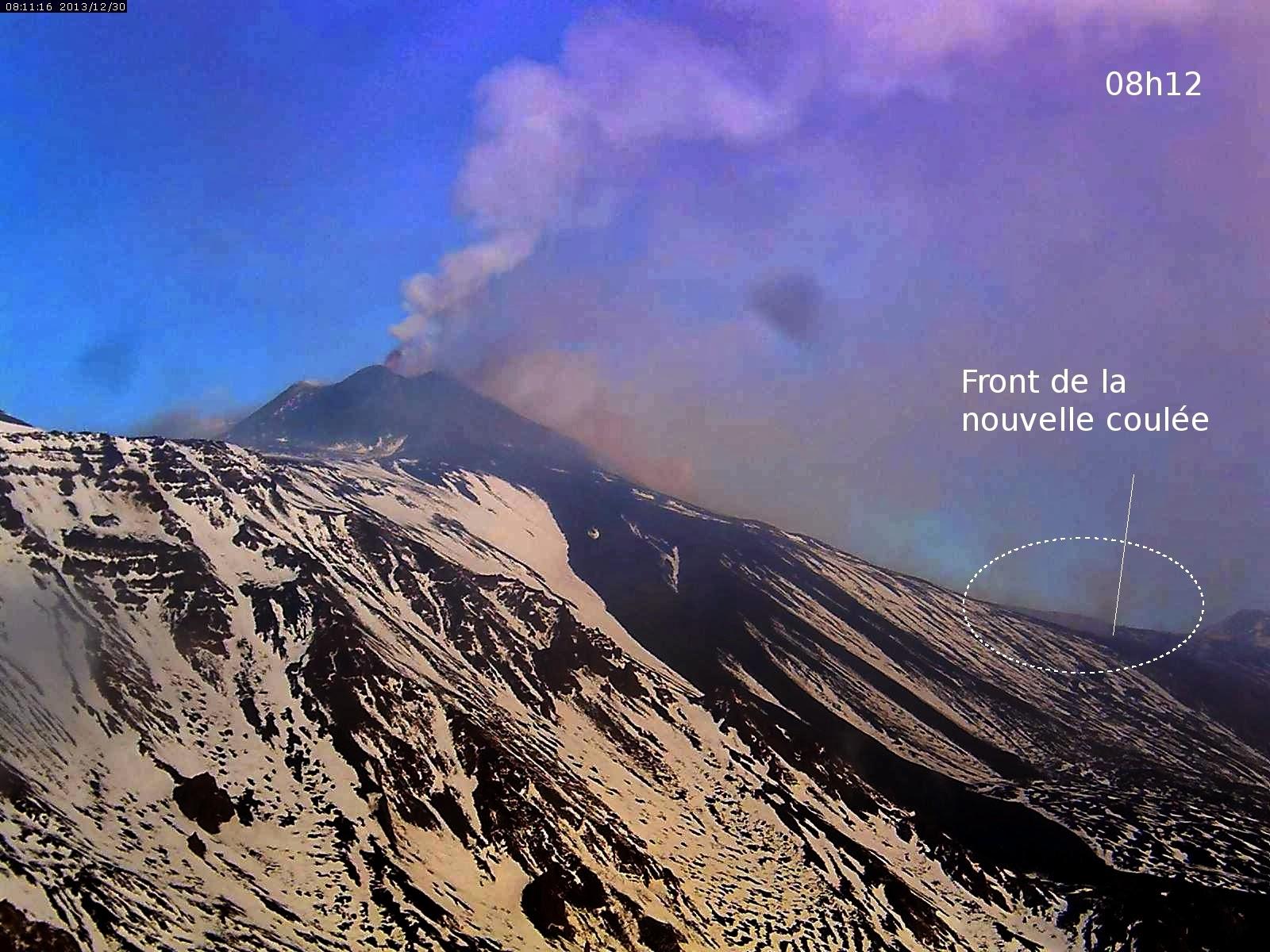 Coulée de lave sur l'Etna, 30 decembre 2013