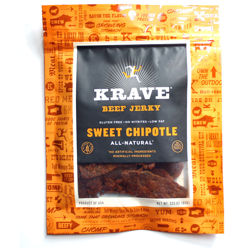 Next in our series on Krave Jerky is this Sweet Chipotle beef jerky ...