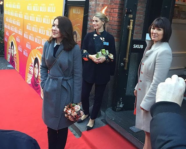 "Crown Princess Mary of Denmark visited the premiere of the documentary ""He Named Me Malala"" about the life of a young girl Malala Yousafzai at Grand Theatre in Copenhagen"