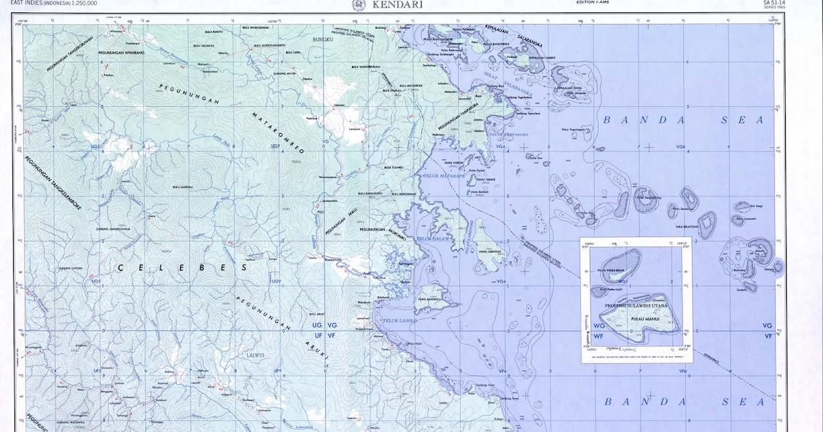 TAKJUB INDONESIA: Peta Topografi Kendari skala 250k