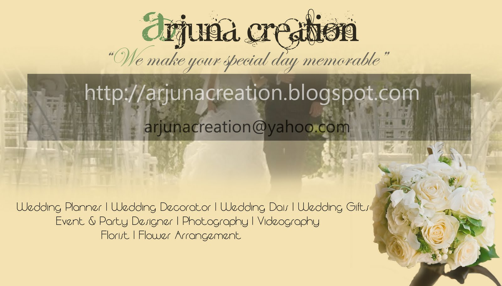 the name of En. keemai: Designing business card for Arjuna Creation