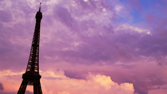 Paris Purple Pink Sunset HD Wallpaper