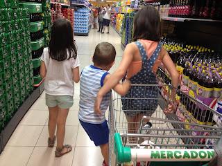 niños, hijos, vacaciones, supermercado, verano