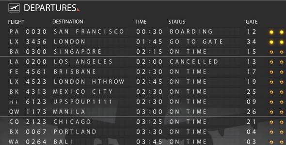 VideoHive Airport Departure Board