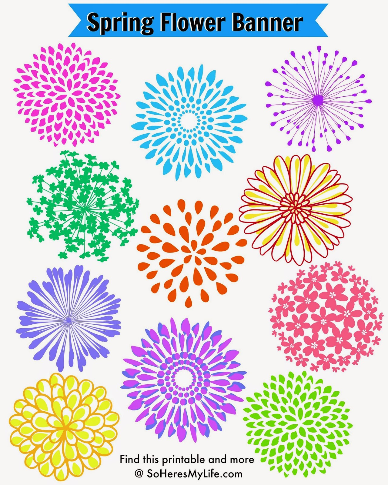 Decorate for Spring with this Free Spring Flower Printable from SoHeresMyLife.com