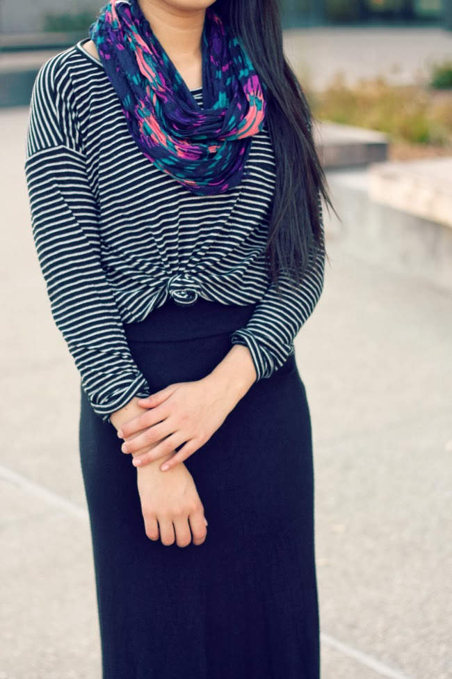 black maxi skirt outfit for school