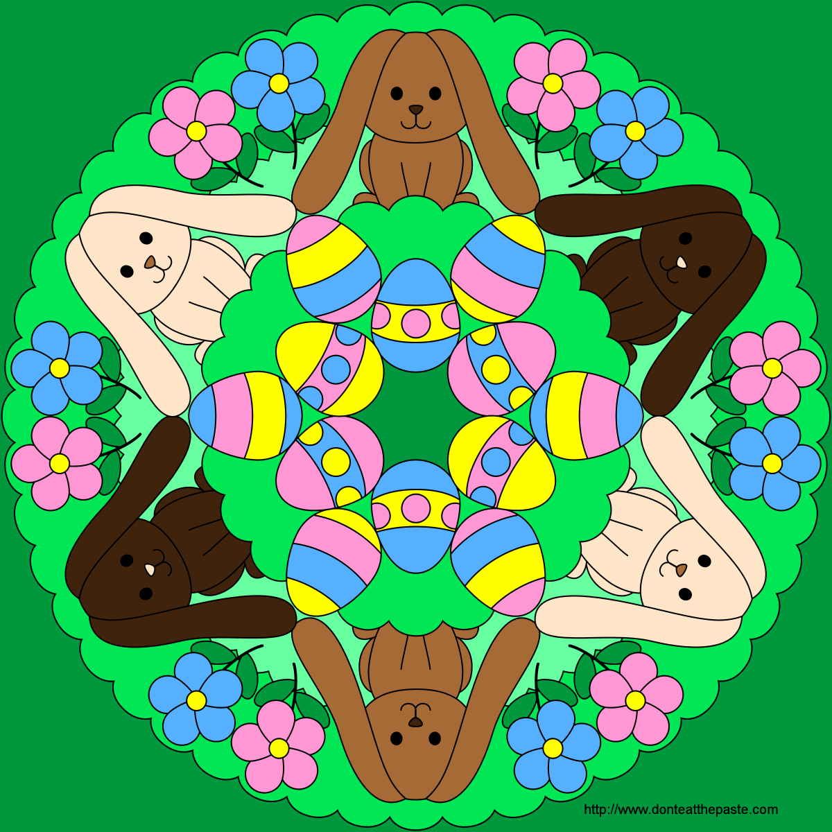 Don't Eat the Paste: Easter Bunny and Egg Mandala to Color