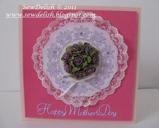 Mother's Day car cricut lacy labels martha stewart seasonal cartridge prima flowers make card