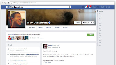 Hackers Palestine Post FB bug Report Di Wall Mark Zuckerberg
