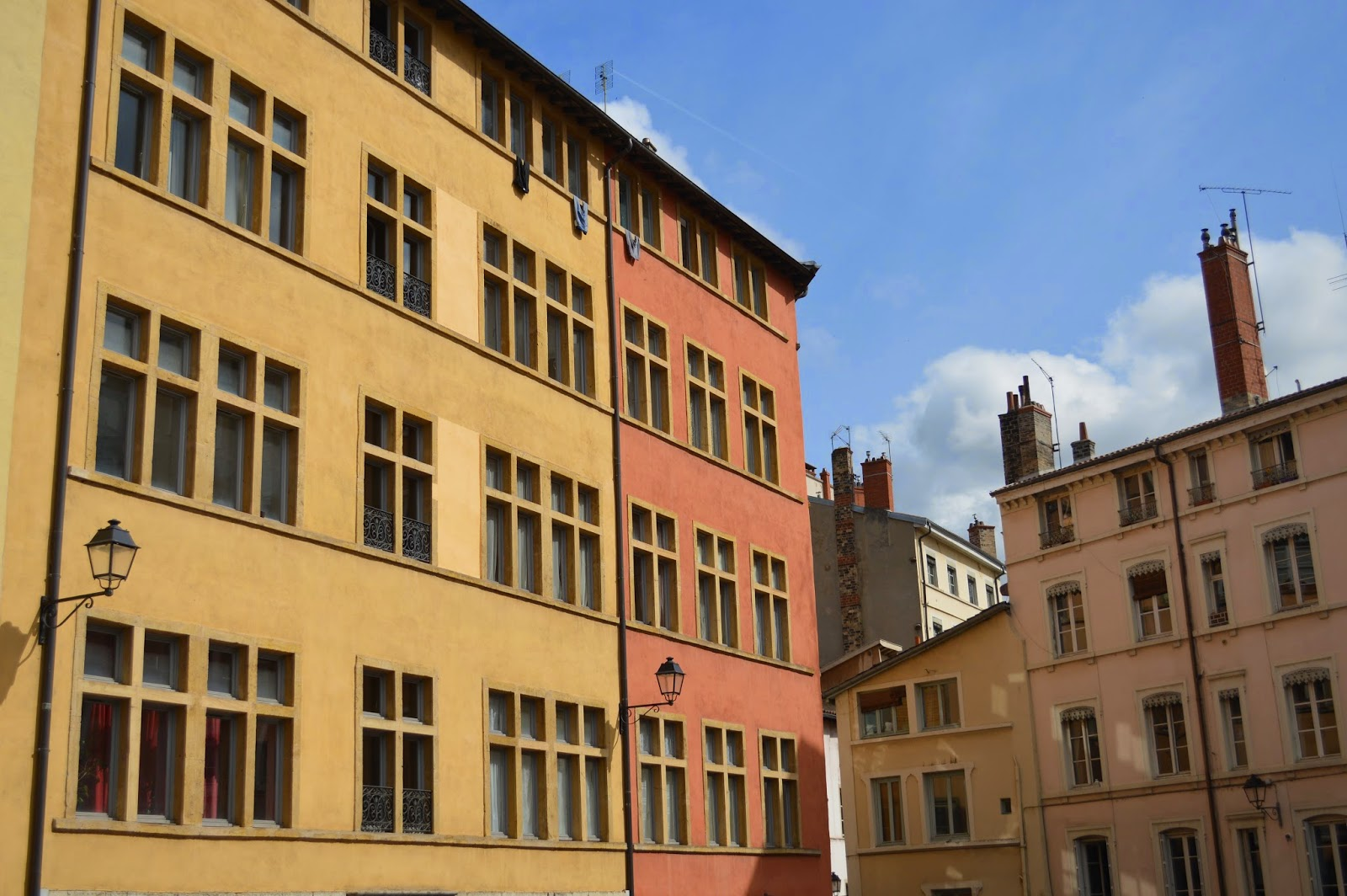 Brightly coloured and pastel buildings in Lyon