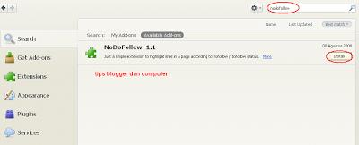 click menu tool add-ons,kemudian ketikkan nodofollow