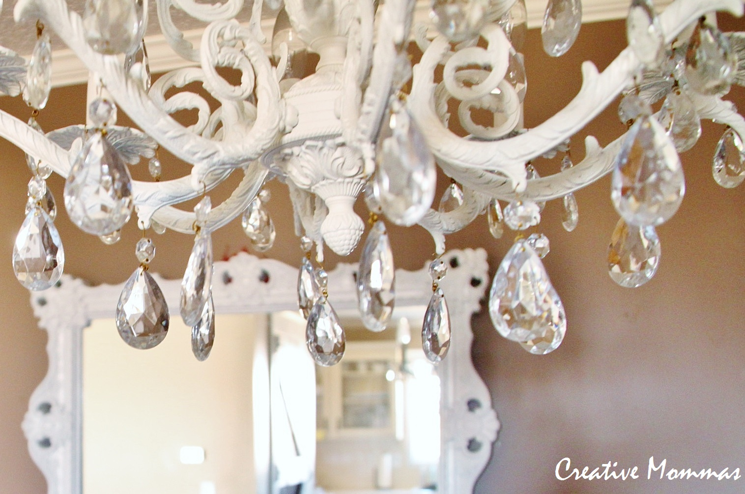 Creative Mommas: Pretty Painted Chandelier:And here is the gorgeous chandelier hanging in my dining room. LOVE IT!!,Lighting