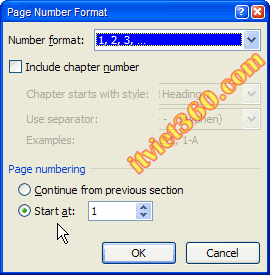 Page Number Format word 2007