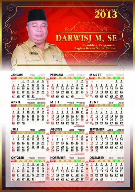 Pesanan Kalender 2013 plus pasaran jawa dan tanggal hijriyah