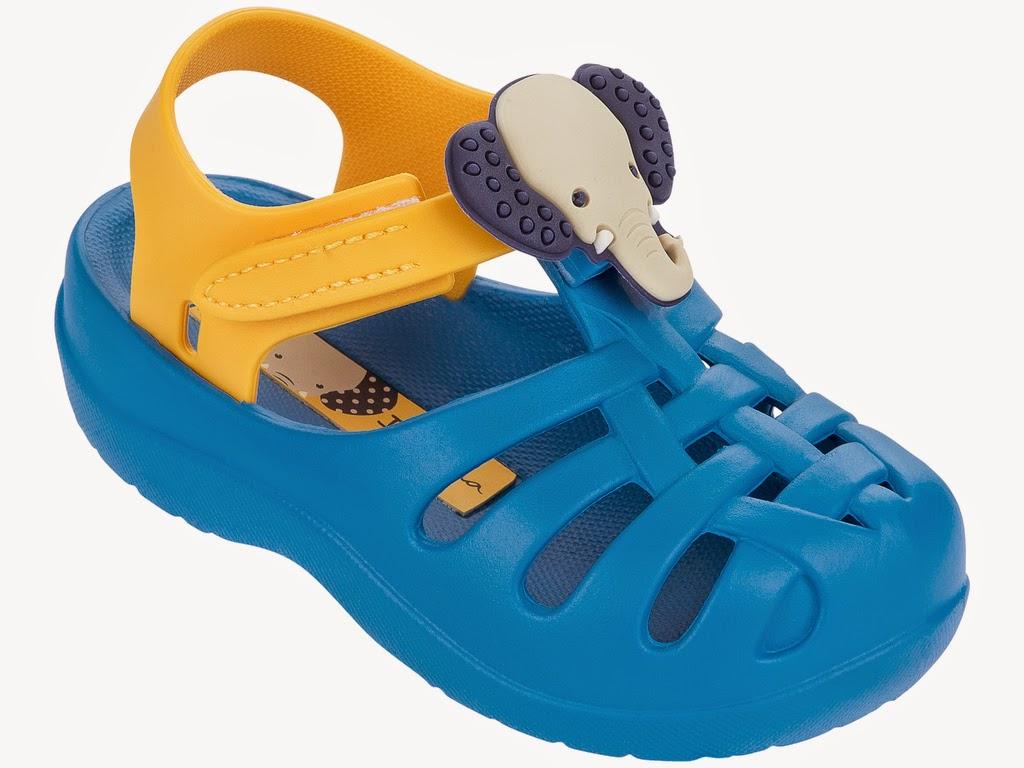 Ipanema Kindersandalen ohne Zehensteg hellblau gelb