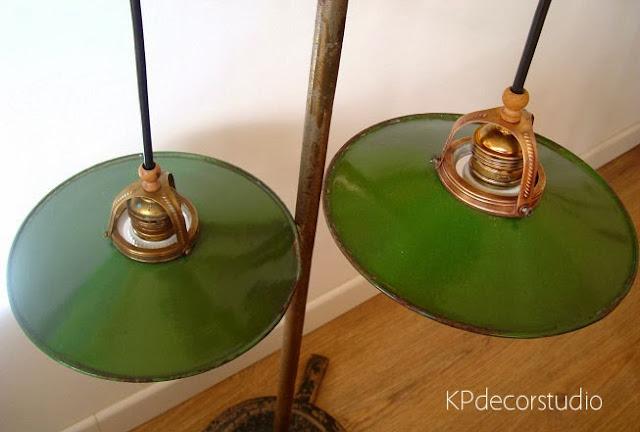 Lámparas esmaltadas para cocina. Lámpara vintage esmaltada para cocinas