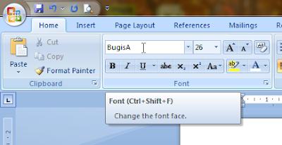 Menggunakan font lontara bugis