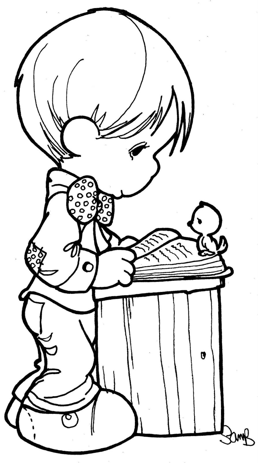 Precious Moments Reading Coloring Pages