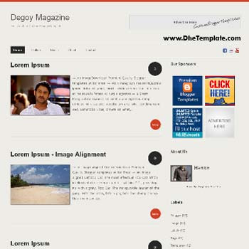 Degoy Magazine blogger template. minimalist design template