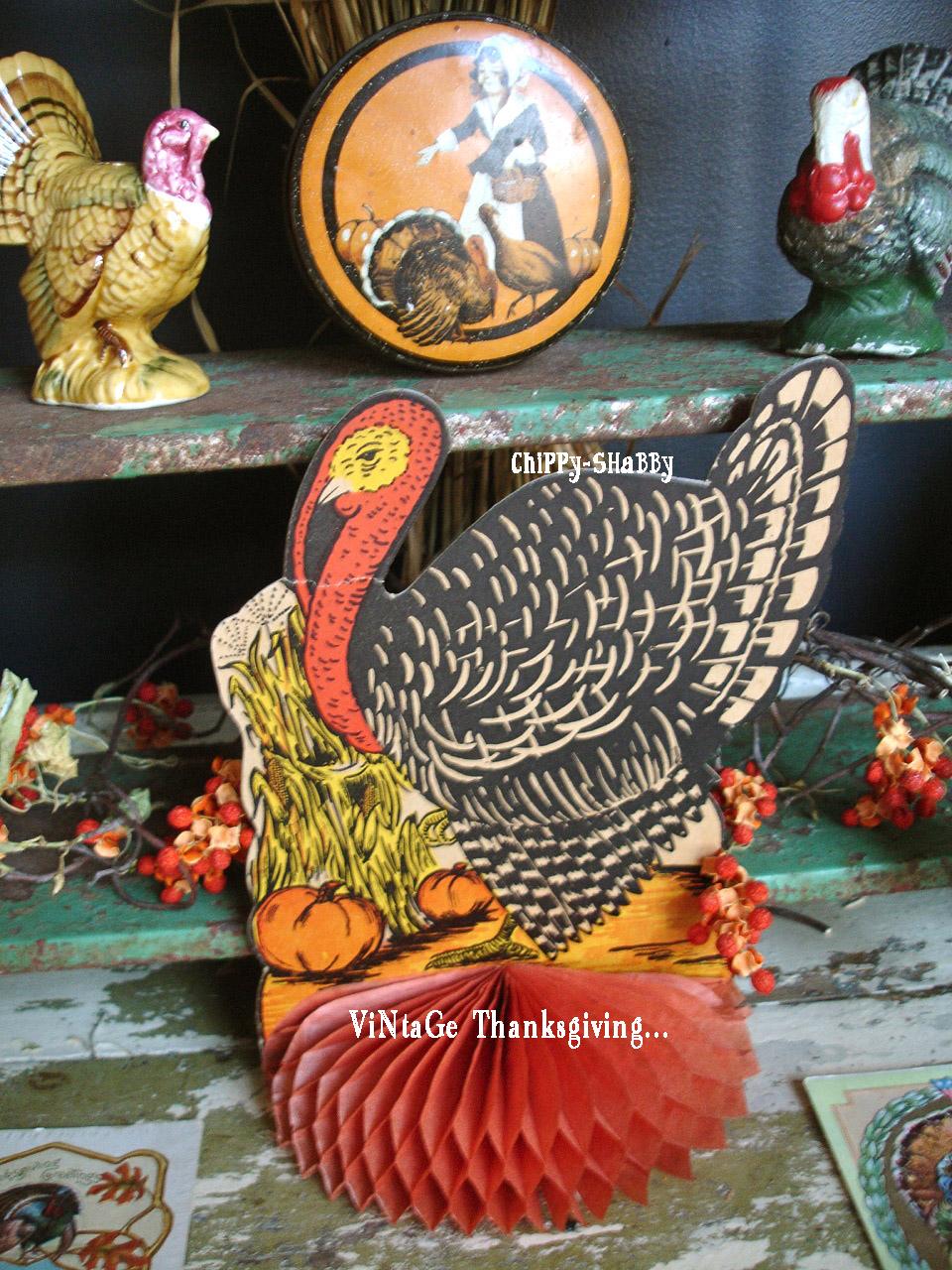 Chippy shabby vintage thanksgiving turkey vignette