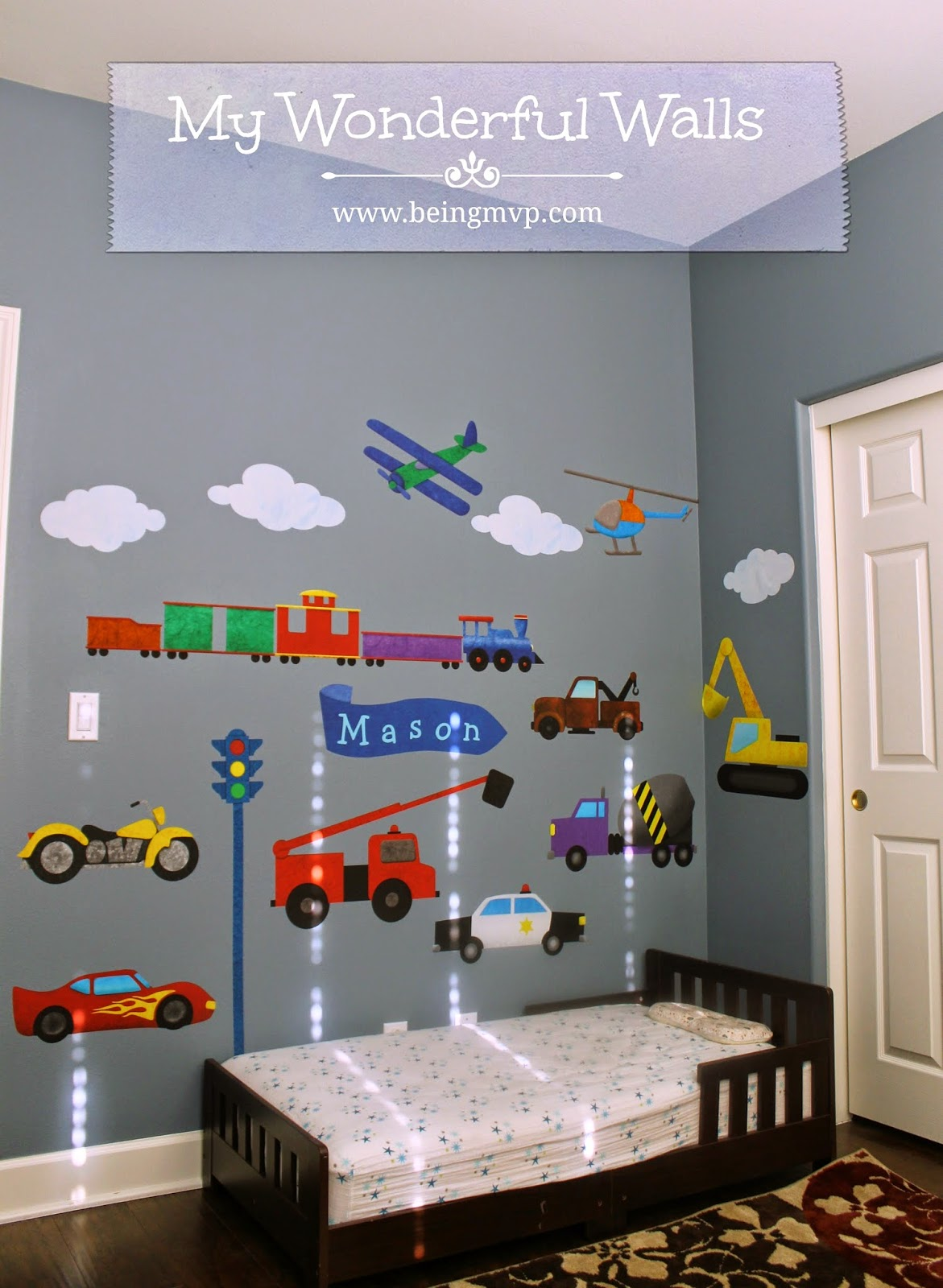 Cool Since Mason has been really into cars and trains the Transportation Wall Sticker Kit was perfect