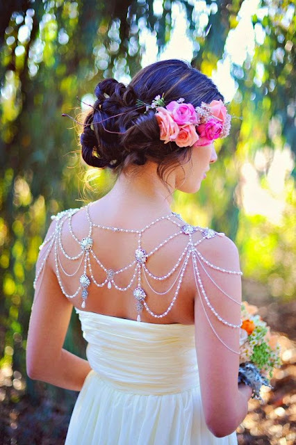 Shoulder Chain - Boho Bride - Bridal accessory- Shoulder cape, capelet- Luxury Handmade pearl shoulder necklace, body chain, wedding