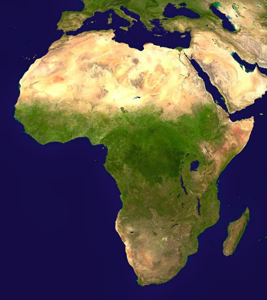 Satellite Africa physical map