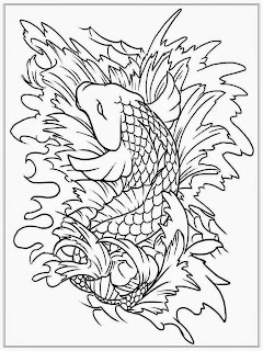 Koi Fish Adult Coloring Pages Free