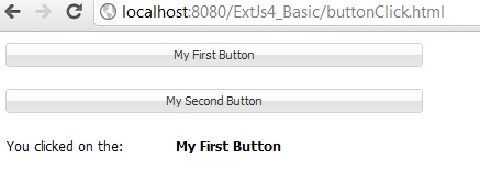 extjs button click example