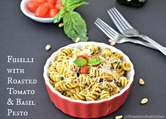 fusilli with roasted tomato & basil pesto - roasted tomato & basil pesto