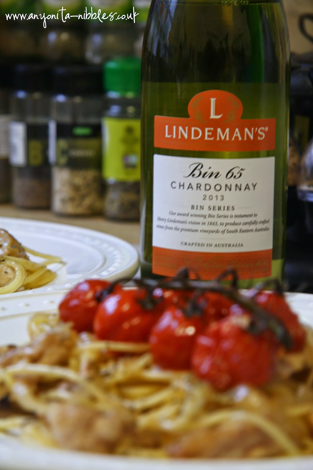 Lindeman's Bin 65 2013 Chardonnay used in a chicken spaghetti recipe from www.anyonita-nibbles.co.uk