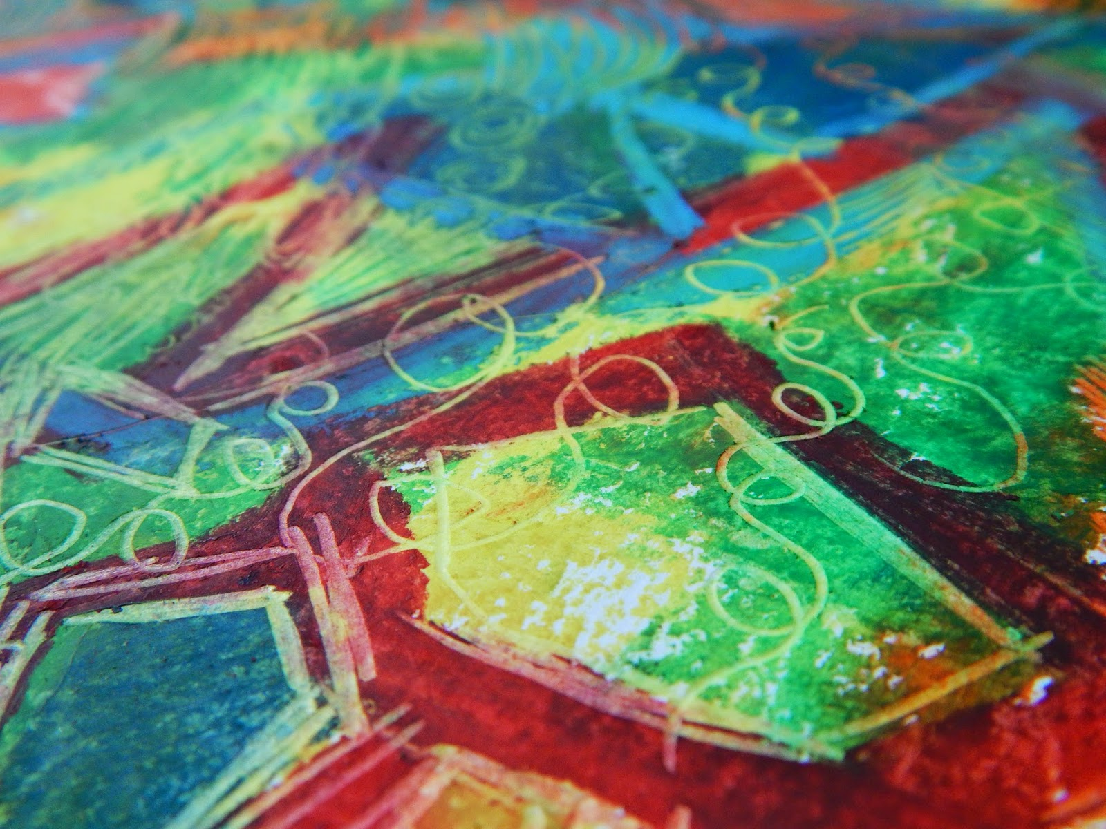 oil pastels etching rainbow colors