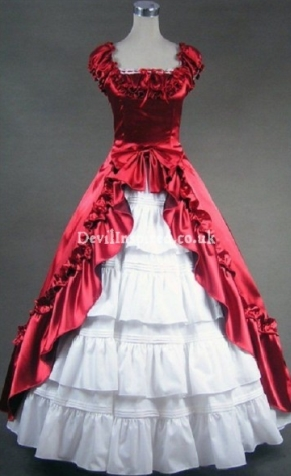 Red and White Puff Sleeves Gothic Victorian Dress