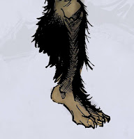 Bigfoot Sword Earthman barbarian comic book character foot design