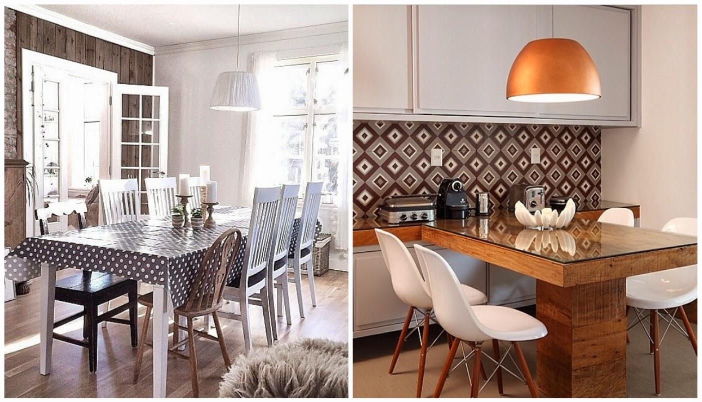 sala de jantar com cadeiras diferentes @interioresdesigndecoracao e revestimento de parede da sala de jantar @assimeugosto