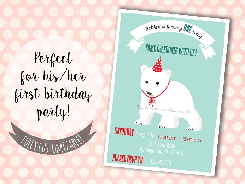 first birthday party invitation with polar bear cub printable
