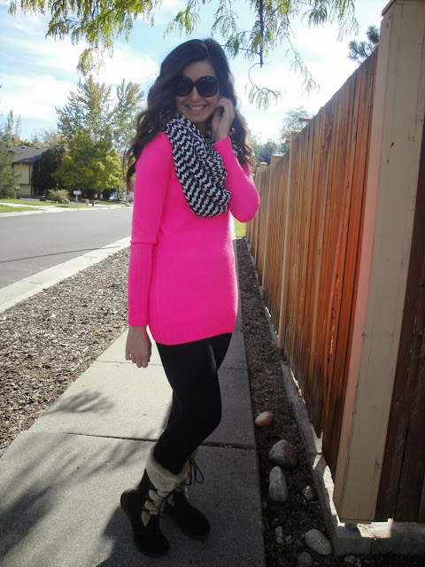 skiing attire, pink sweater, chevron infinity scarf, scarves, infinity scarf, chevron scarf, black leggings, forever 21, dsw, bare traps, baretraps, boots, fur boots,