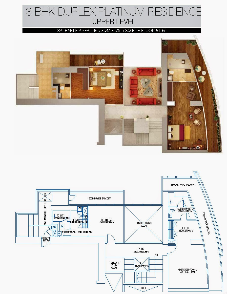 BRYS BUZZ :: Floor Plans 3 BHK Duplex Platinum Residence Upper level