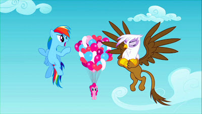 Pinkie uses balloons to reach Dash and Gilda