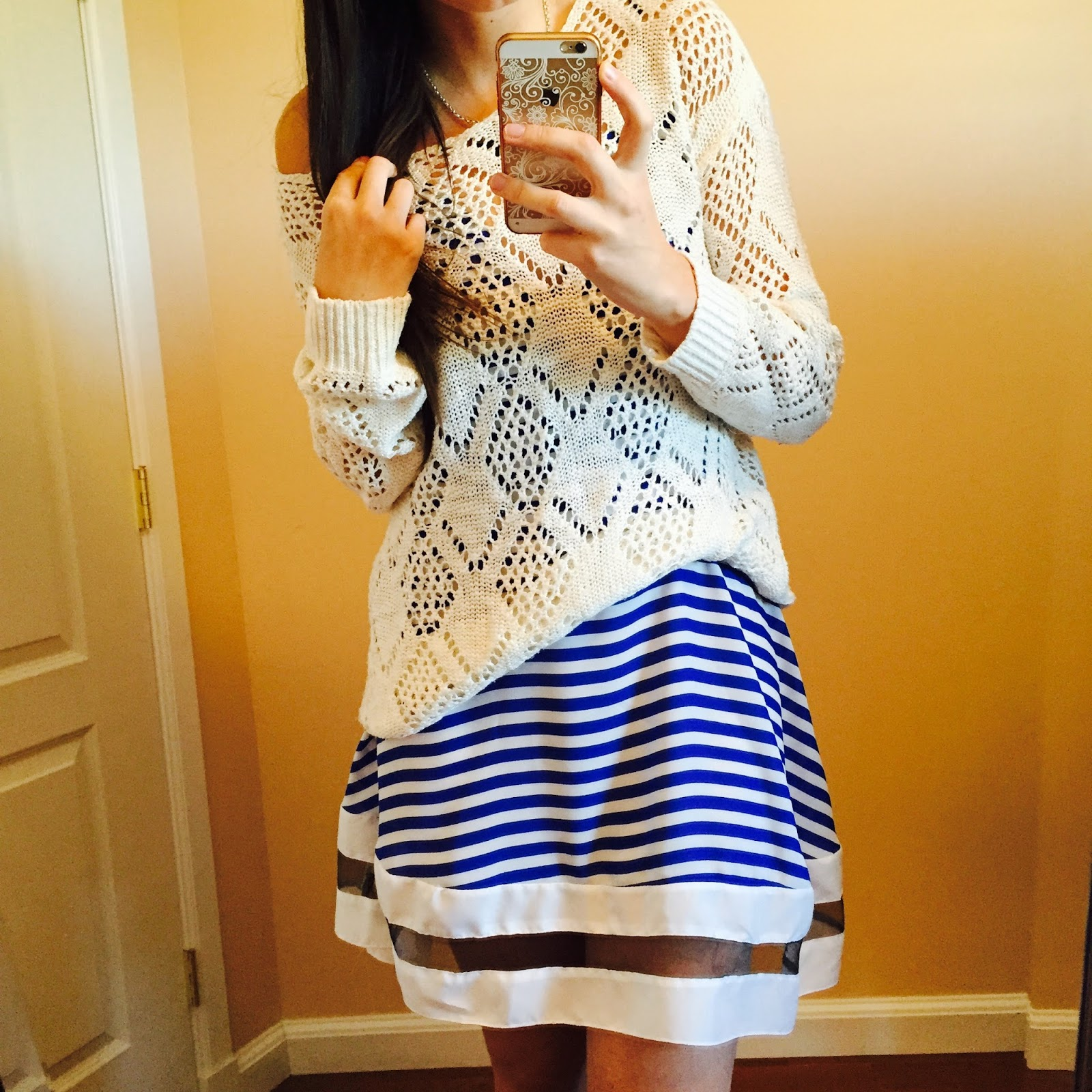 diamond knit sweater, pinkblush sweater, pinkblush, Royal Blue White Stripe V Neck Mesh Cut Out Casual Dress, amiclubwear, amiclubwear dresses, blue and white striped dress, how to wear a blue and white striped dress,
