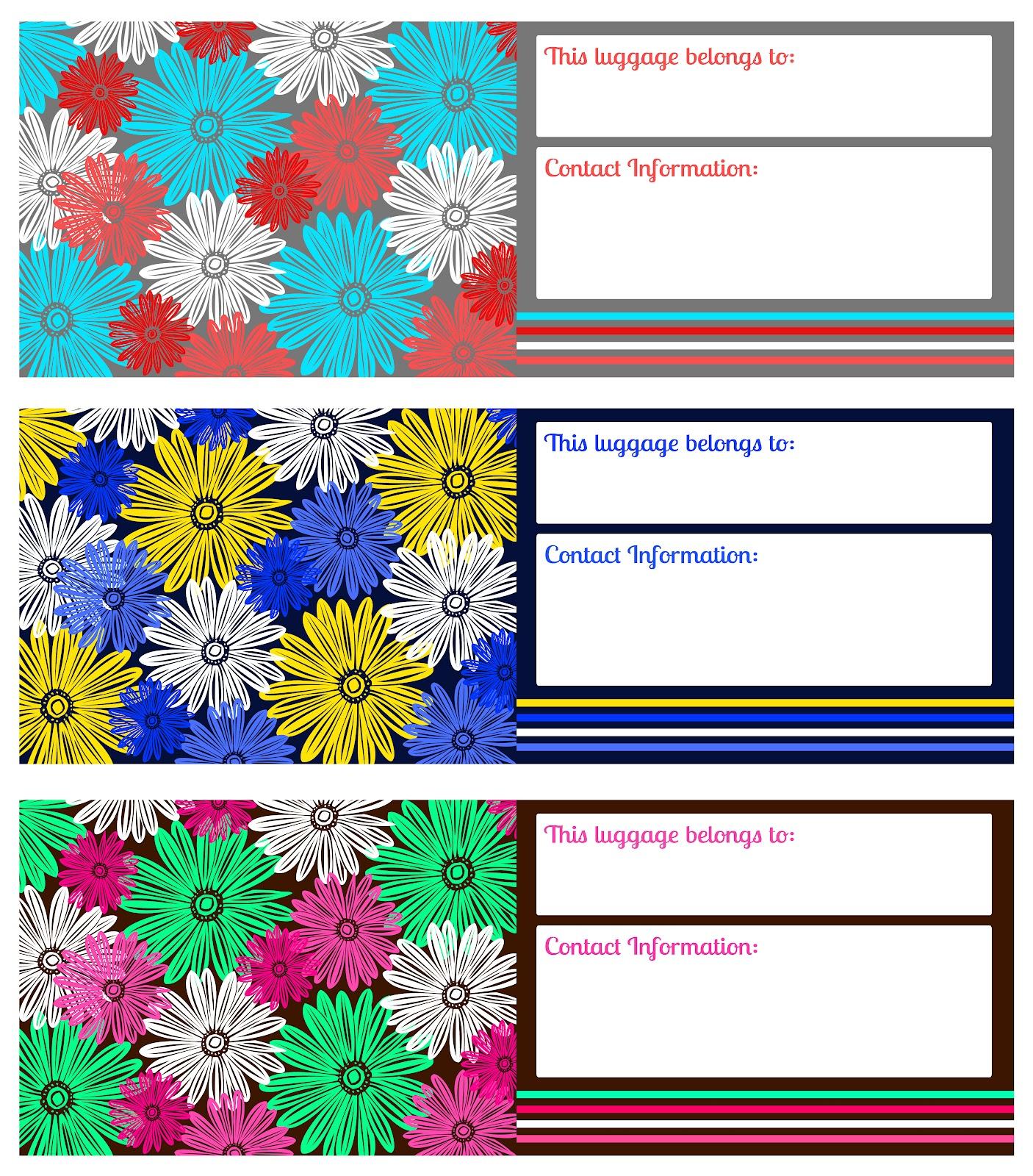 image relating to Printable Luggage Tags named Printable Baggage Tags - Darling Doodles